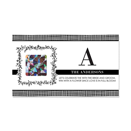 custom floral monogram personalized bridal shower game scratch off cards 22 count