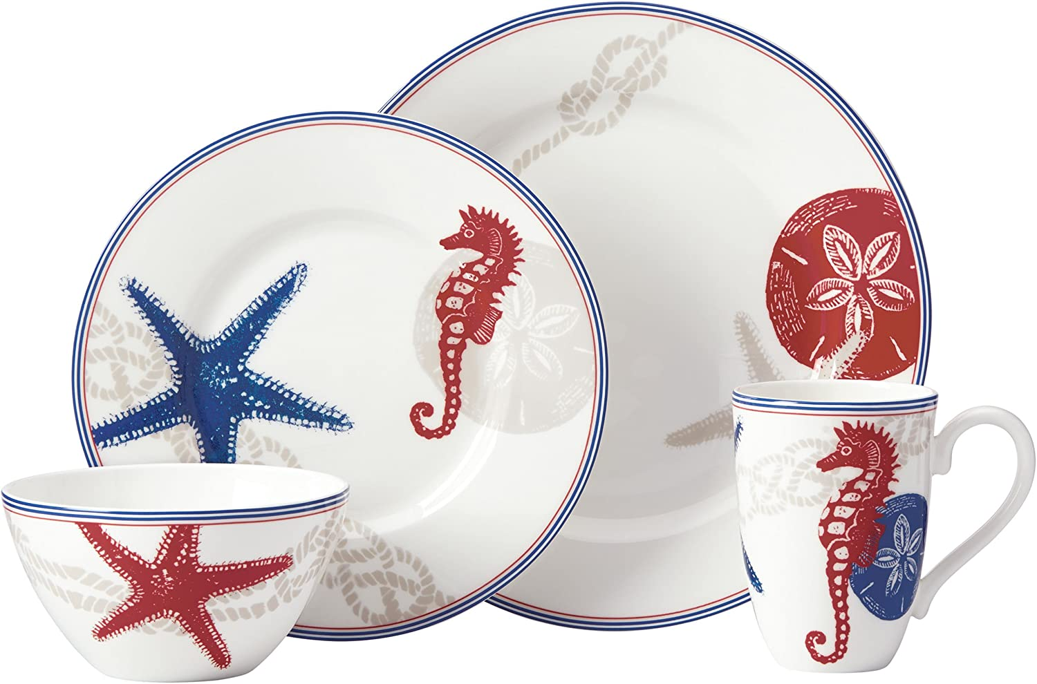 Lenox 4 Piece Oceanside Place Setting Dinnerware Set, Multicolor