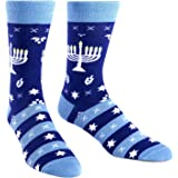 Sock It To Me Men's Fun Crew Socks Hanukkah Menorah - Mazel Toes MEF0185