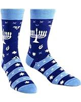 Sock It To Me Men's Fun Crew Socks Hanukkah Menorah - Mazel Toes MEF0185