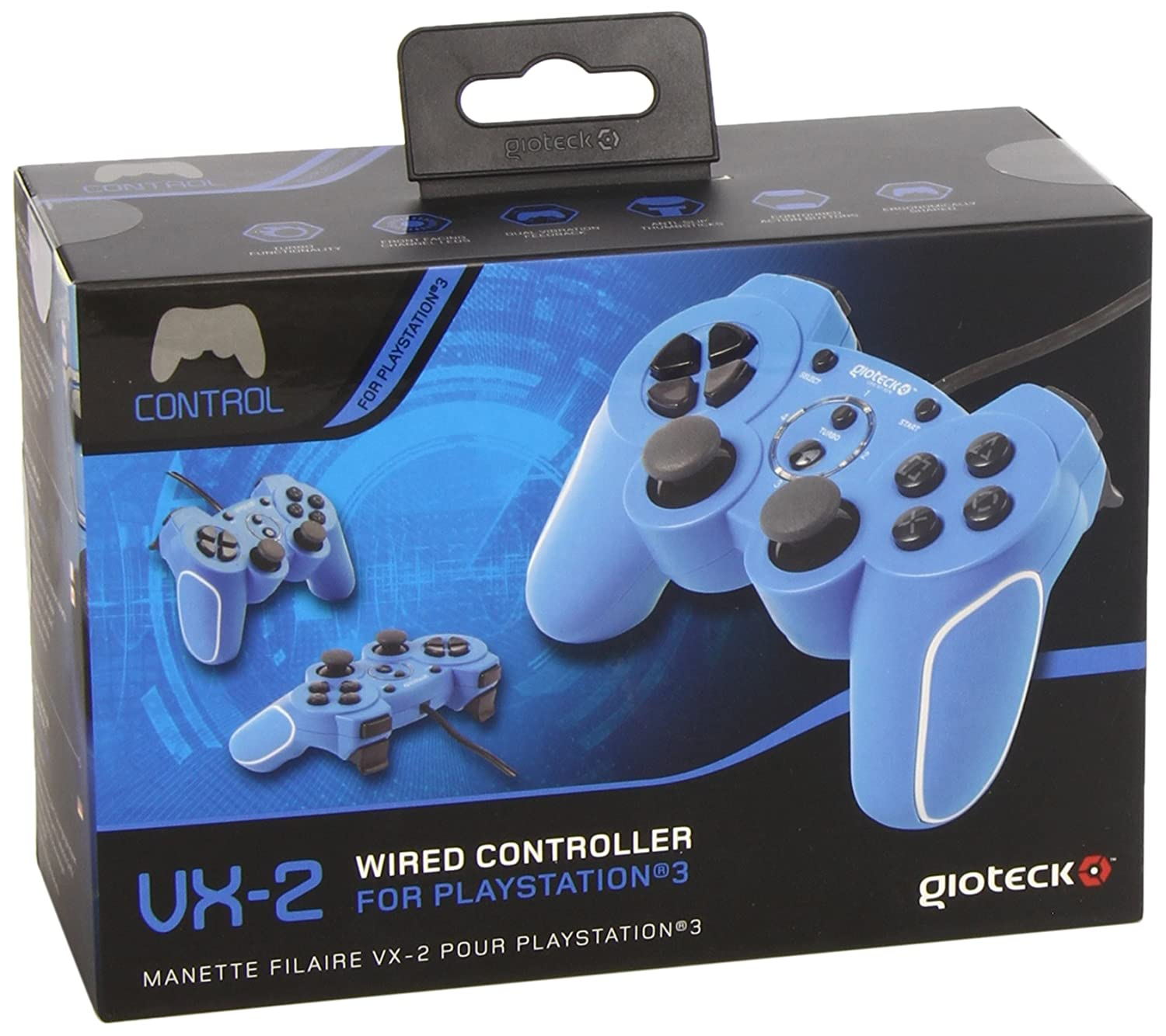 Gioteck VX-2 Wired Controller - Blue (PS3/PC): Amazon.co.uk: PC ...