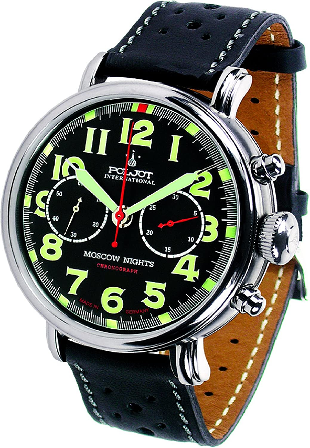 POLJOT Int Chronograph Moscow Nights Mechanische Russische Uhr Lederband Schwarz