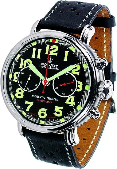 """POLJOT Cronógrafo Reloj de hombre """"Moscow Nights"""" cuerda manual mecánico banda de piel"""