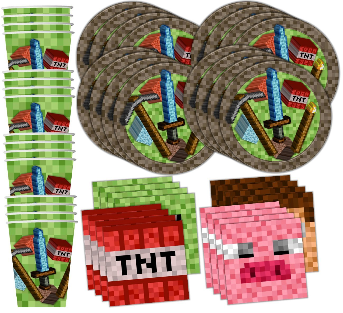 Mining Pixel World Birthday Party Supplies Set Plates Napkins Cups Kit for 16 by Birthday Galore by Birthday Galore