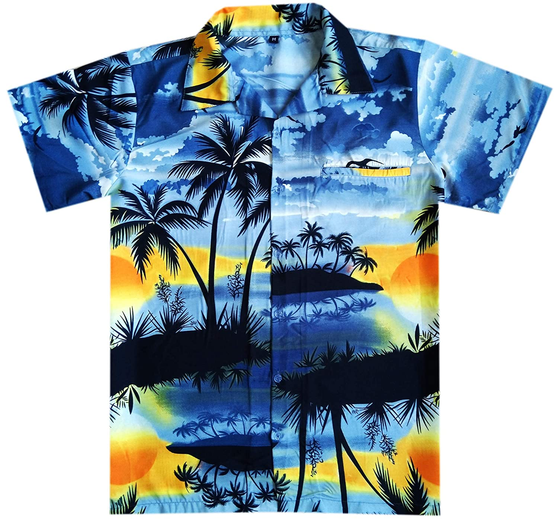 Virgin Crafts Hawaii-T-Shirts f/ür M/änner Funky Strand-Ferien-Party-Reverse-Palm Lila 5XL