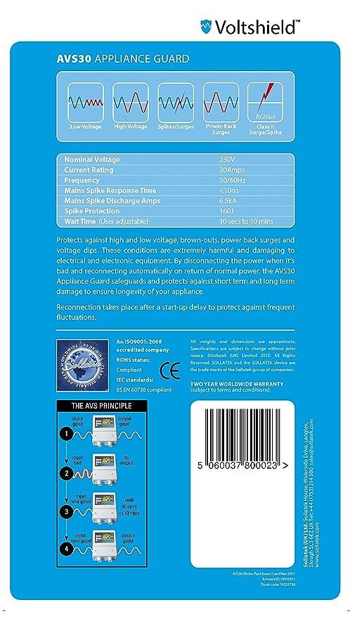 Sollatek Automatic Voltage Switcher- AVS30: Amazon.co.uk: Electronics