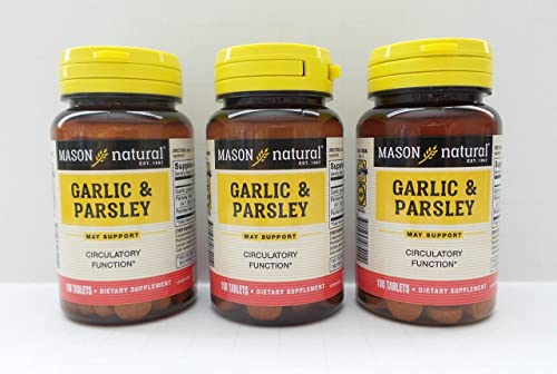3 Pack Special of MASON NATURAL GARLIC PARSLEY SOFTGELS 100 per bottle