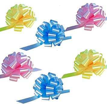 Amazon baby blue yellow and pink pull bows 6 wide set of baby blue yellow and pink pull bows 6quot wide set of negle Image collections