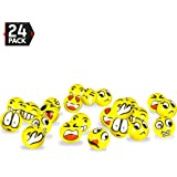 """3"""" Party Pack Emoji Stress Balls - Stress Reliever Party Favors, Toy Balls, Party Toys (24 Pack)"""