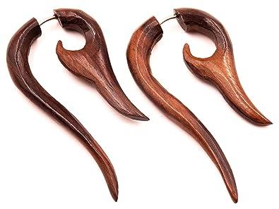 Falso Dilatador madera pendientes Piercing Wooden Gauge Earring Fake par espiral remolino: Amazon.es: Joyería