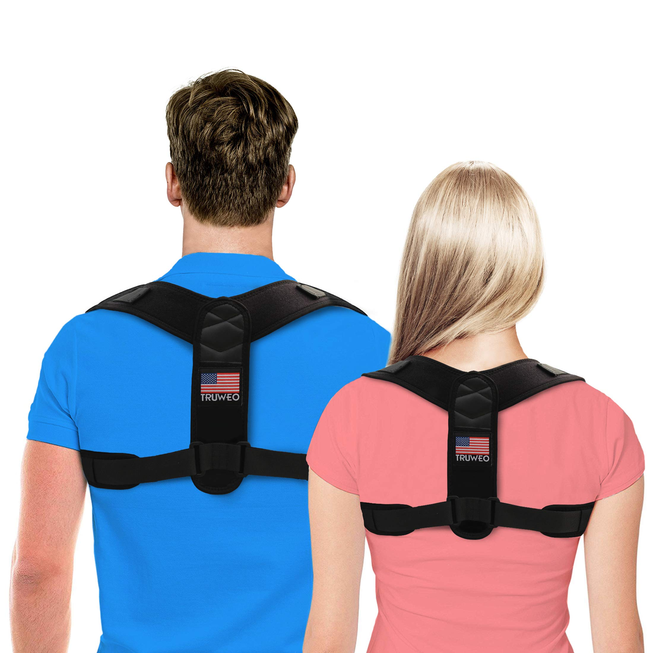TRUWEO Posture Corrector for Men and Women - USA Designed Upper Back Brace for Clavicle Support and Providing Pain Relief from Neck, Back & Shoulder (Regular (Chest Size: 32 to 42 inches))