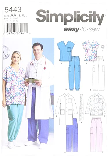 Amazon.com: Simplicity Sewing Pattern 5443 Plus Size Scrubs, AA (S-M-L): Arts, Crafts & Sewing