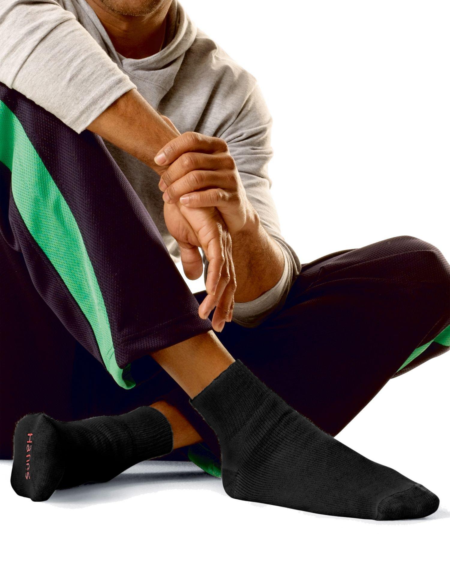 Hanes Men's Full Cushion Socks Ankle Black, 6-12-Black (6 Pairs)