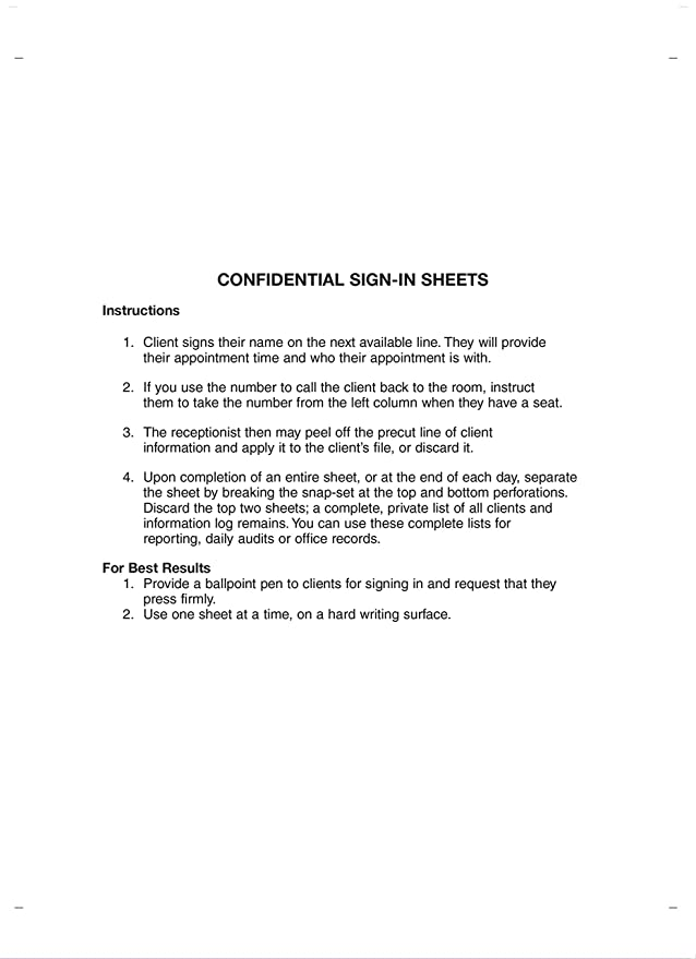Confidential Sign In Sheets 8 1 2 X 11 WHITE