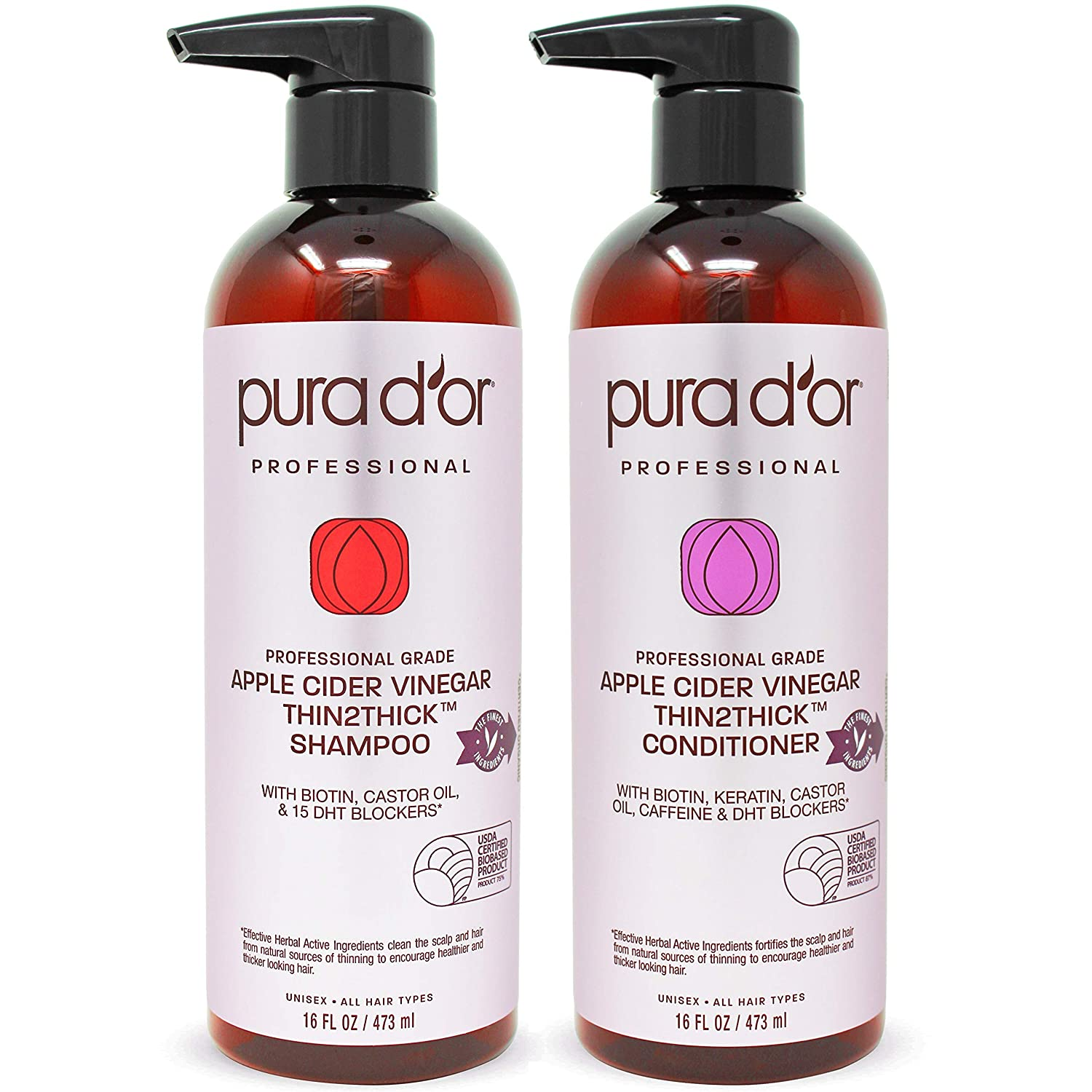 PURA D'OR Apple Cider Vinegar Thin2Thick Set Shampoo & Conditioner (2 x 16oz) Biotin, Keratin, Caffeine, Castor Oil, Sulfate Free, Natural Ingredients, All Hair Types, Men & Women (Packaging may vary)