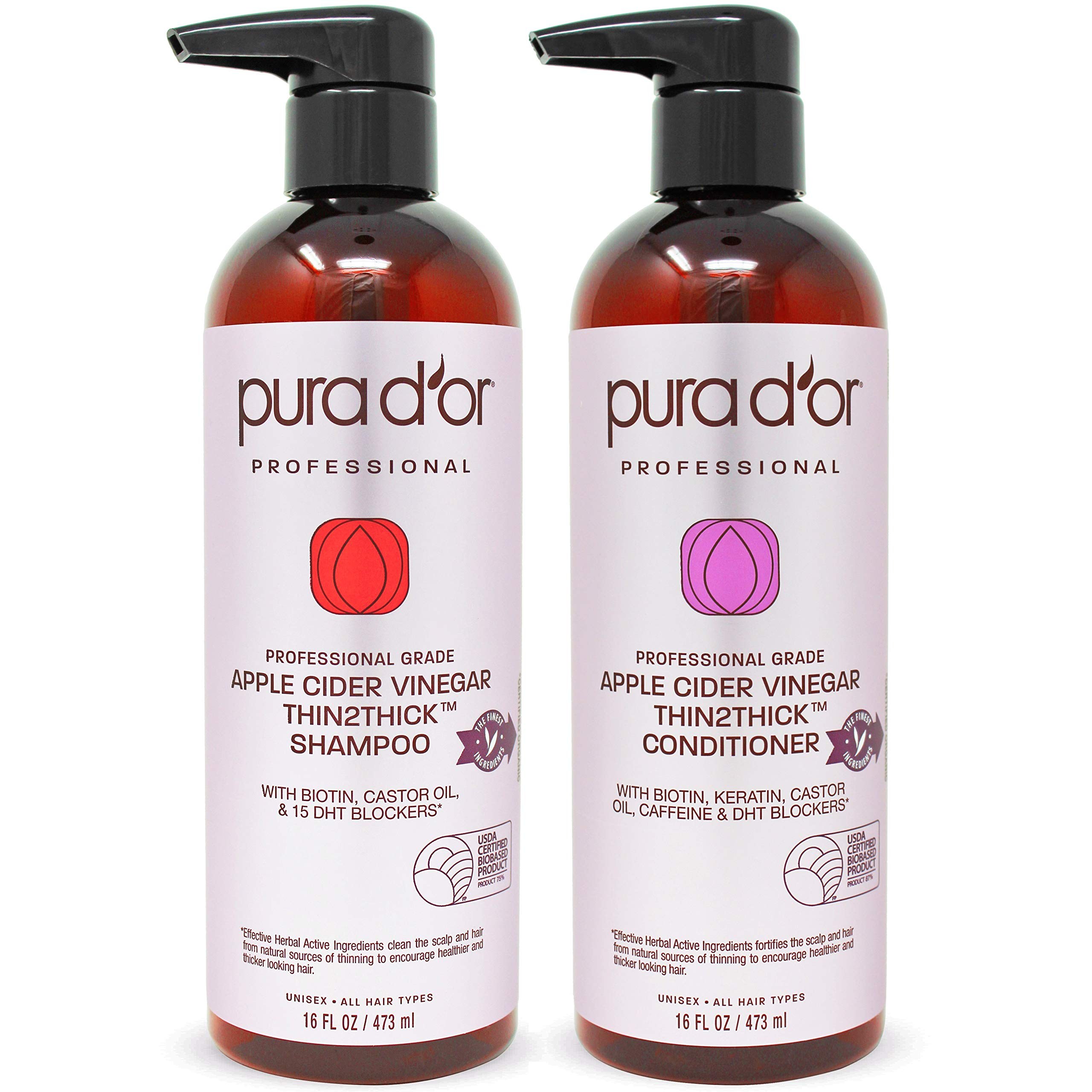 PURA D'OR Professional Grade Biotin Red Apple Cider Vinegar Thin2Thick Shampoo & Conditioner Set (16oz x 2) Keratin, Caffeine, Castor Oil Sulfate Free, Natural Ingredients: All Hair Types, Men & Women by PURA D'OR