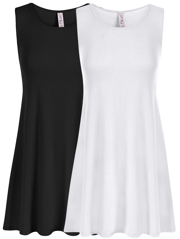 Simlu SHIRT レディース B079Y9N7BP Large|2 Pk Black / White 2 Pk Black / White Large