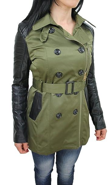 9458984661 Giubbotto trench donna verde nero casual giacca parka con maniche in ...