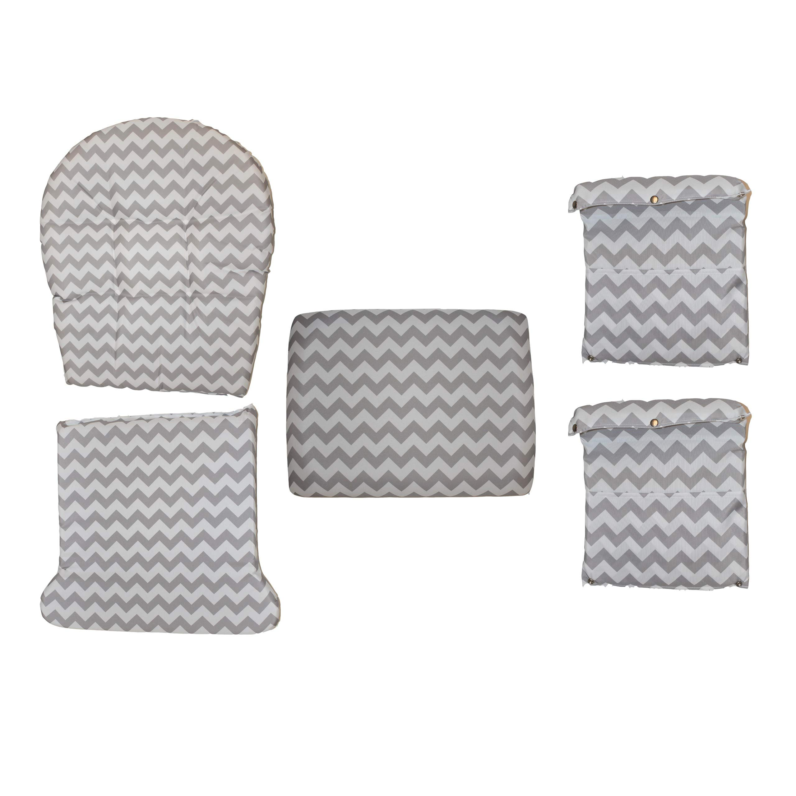 Storkcraft Hoop Glider and Ottoman Replacement Cushion Set- Stylish Cushion Replacement Set for Glider and Ottoman, 5 Pieces, Padded Arm Rests, Durable and Spot Cleanable (Gray Chevron) by Storkcraft