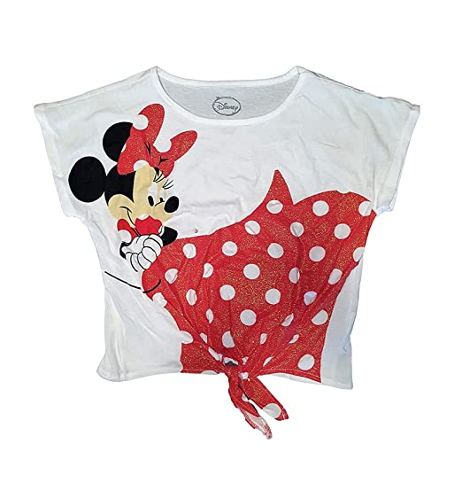 7a225023591509 Disney Minnie Mouse Polka Dot Youth Girls Front Tie Crop Top Tee Shirt -  Pink -  Amazon.co.uk  Clothing