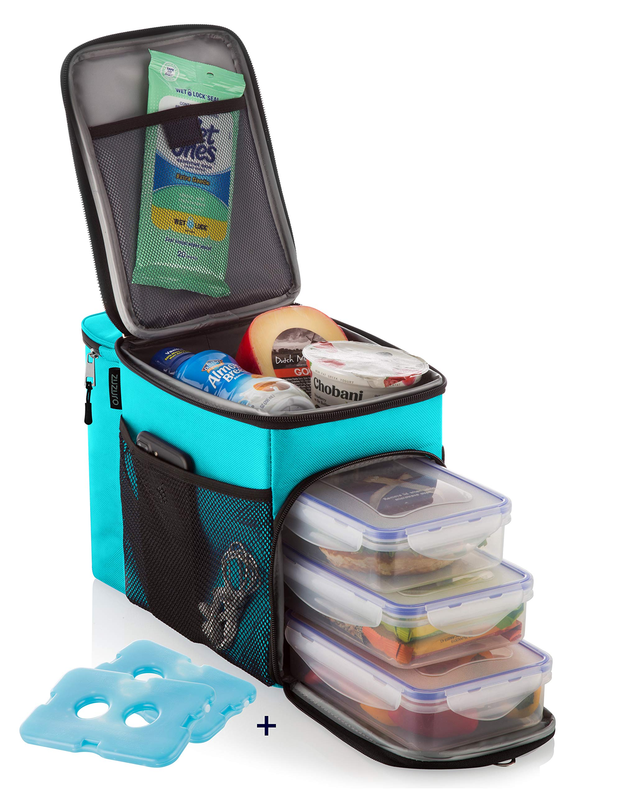 ZUZURO Lunch Bag Insulated Cooler Lunch Box w/ 3 Compartment - Heavy-Duty Fabric, Strong SBS Zippers - Includes 3 Meal Prep Lunch box Containers + 2 Ice Packs. For Men Women Adults (Turquoise) by Zuzuro
