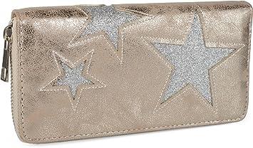 0373f3ead4aab styleBREAKER Geldbörse mit glitzerndem Stern Cutout Muster und Ziernaht