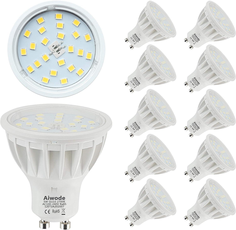 5W Bombilla GU10 LED Equivalente a 50W Blanco Cálido 2700K No Regulable 600LM RA85 120°Ángulo de haz,Paquete de 10.: Amazon.es: Iluminación