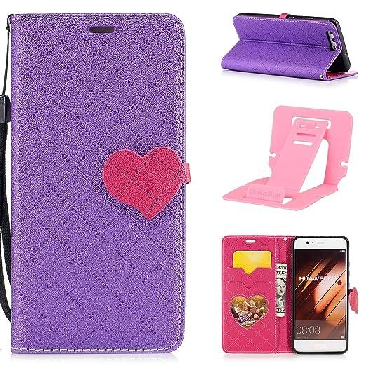 2 opinioni per Custodia Huawei P10,Huawei P10 Cover in Pelle,Ekakashop Love Heart Fibbia Puro