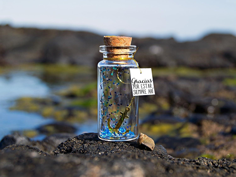 Gracias por estar siempre ahí. Mensaje de amistad. Amigos para siempre. Mensaje en una botella. Miniaturas. Regalo personalizado.