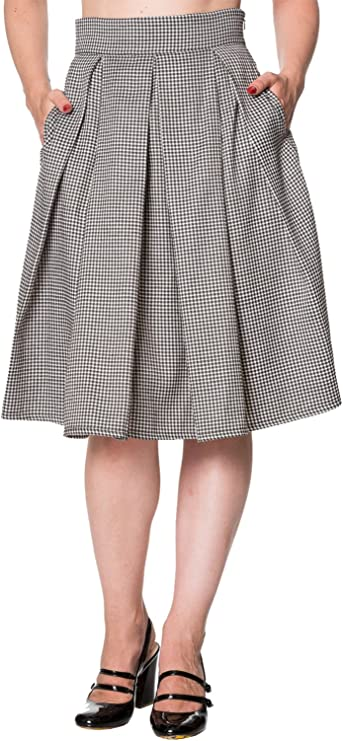 1940s Teenage Fashion: Girls Banned Retro Vintage Dogtooth Midi Skirt Apparel £39.95 AT vintagedancer.com