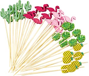 Acerich 200 Pack Cocktail Picks, Bamboo Food Picks Toothpick with Flamingo Pineapple Shapes for Party Supplies, Cocktail Toothpicks Fruits Dessert Summer Party Food Decoration