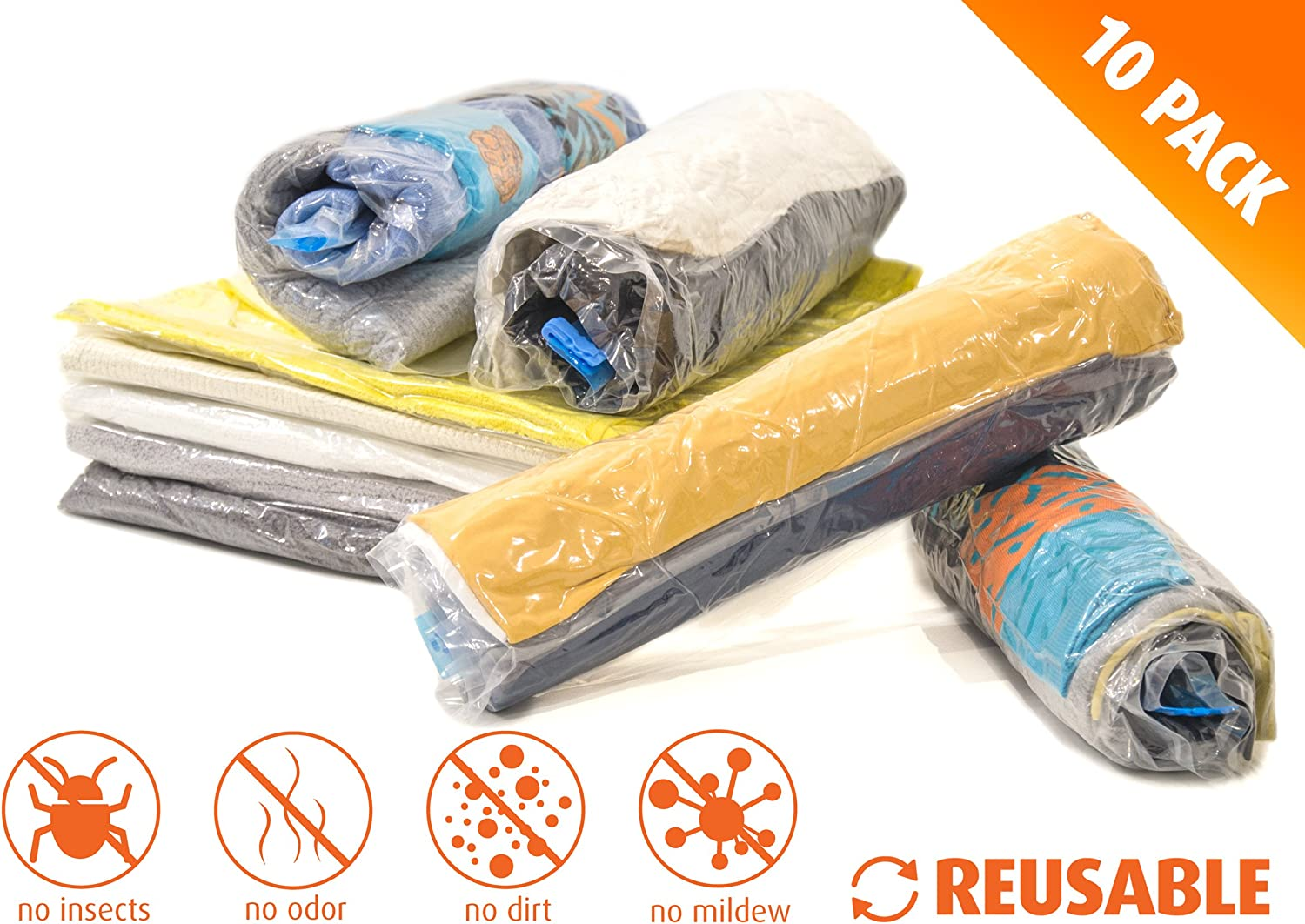 5X Medium 24x16 inches TeroHouse 10 Travel Storage Bags for Clothes Space Saver Packing Sacks Air Space Roll up Bags no Vacuum Pump Needed 5X Small 20x14 inches Rolling Compression Bag for Luggage