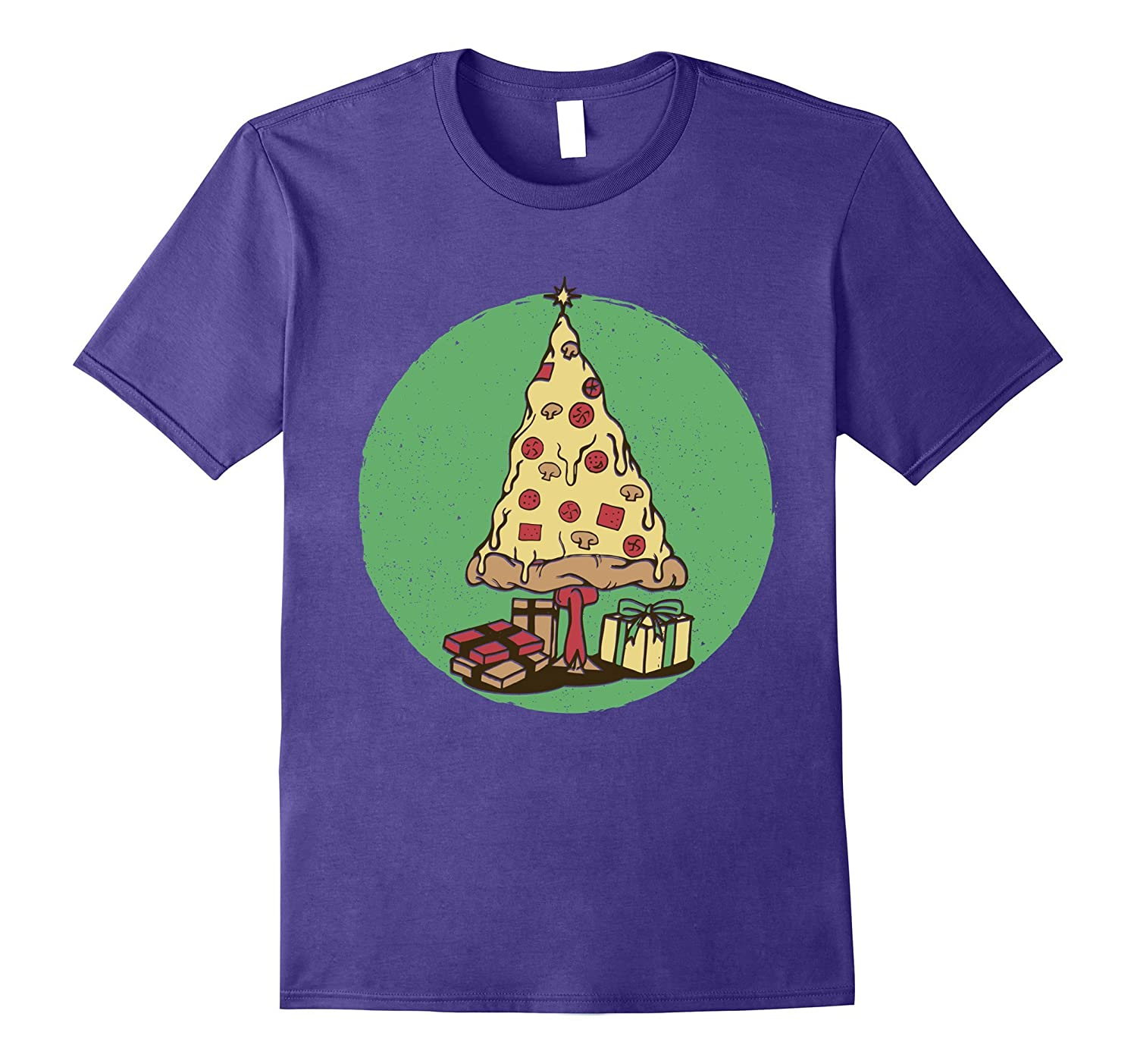 Pizza Christmas Tree Ugly Sweater Pepperoni Food Funny Tee