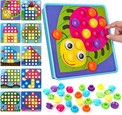 NextX Button Art Preschool Learning Toys Color Matching Games Blue