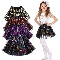 GuKKK Falda de Tutú de Halloween, 4 Piezas Halloween Mesh Tulle Tutu Skirt, Falda de Calabaza, Telaraña de Calavera Web…