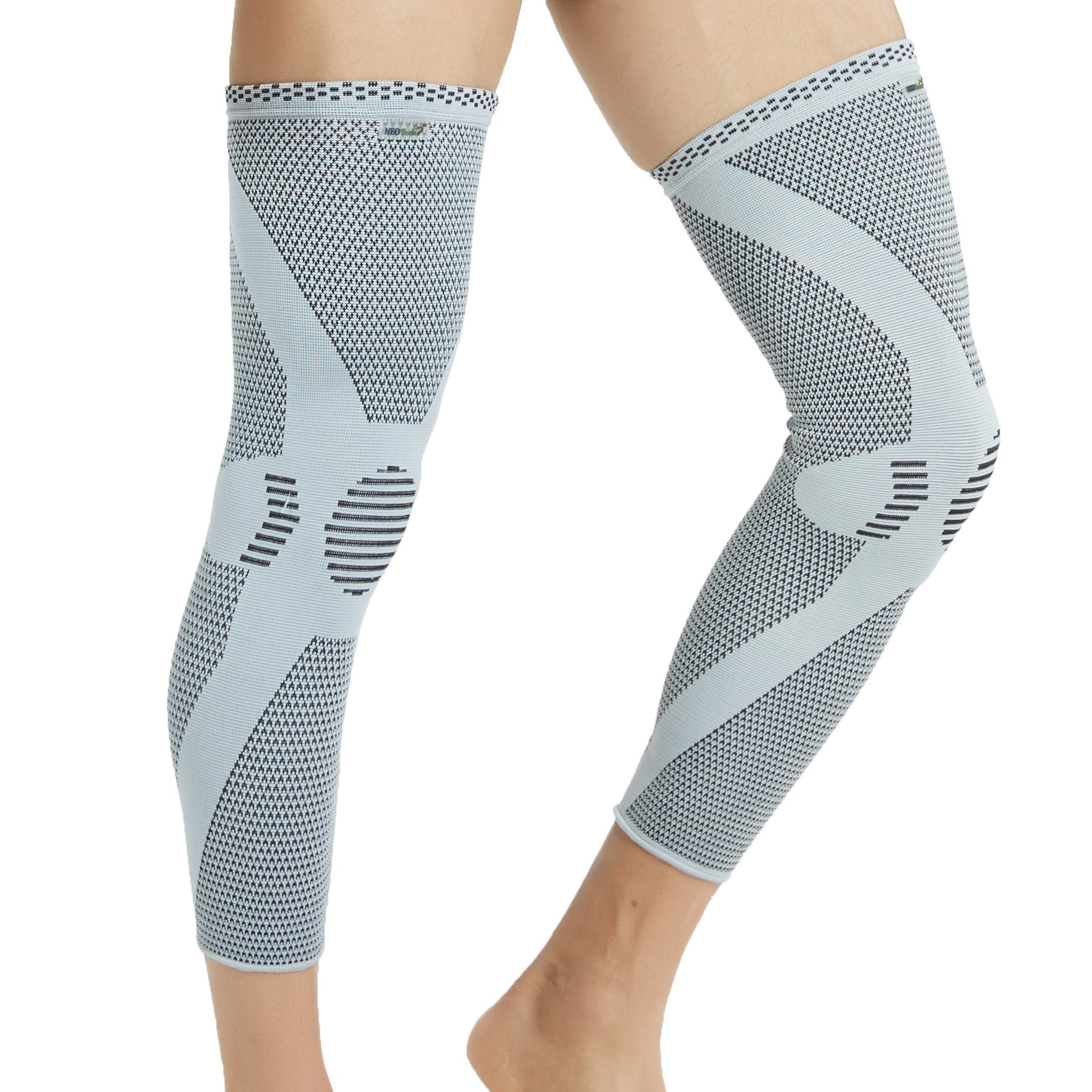 Neotech Care Leg and Knee Support Sleeve - Bamboo Fiber Knitted Fabric - Elastic & Breathable - Medium Compression - Size L - Grey Color - Package of 1 Unit
