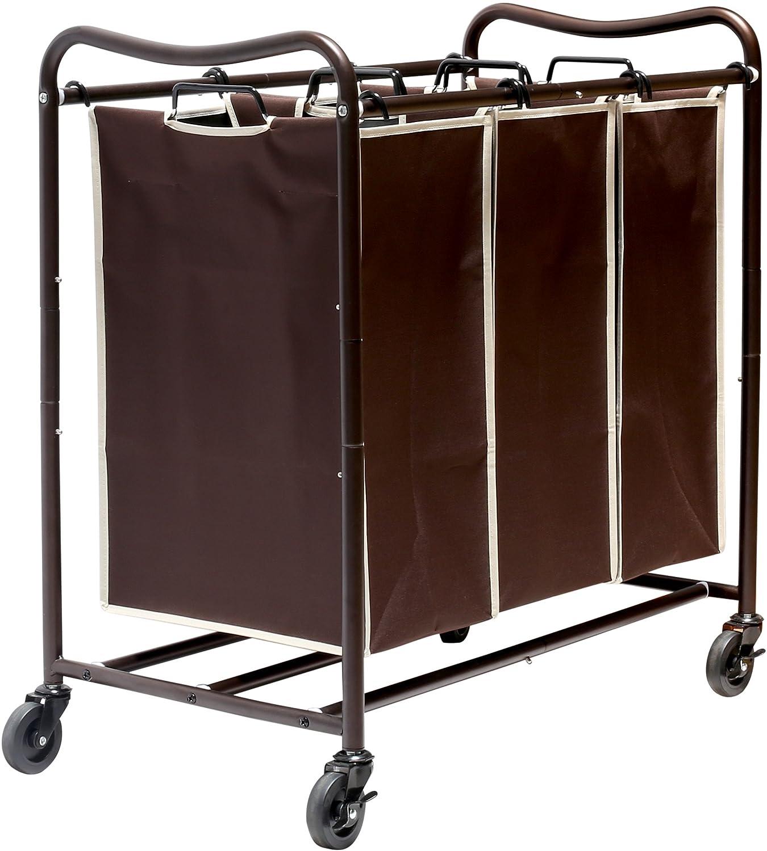 DecoBros Heavy-Duty 3-Bag Laundry Sorter Cart, Bronze (Bronze Bag) Deco Brothers CT-002-3
