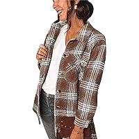 Chaqueta a Cuadros para Mujer con Botones Chaqueta Transición Talla Grande Camisa a Cuadros con Bolsillos Camisa Ligera…