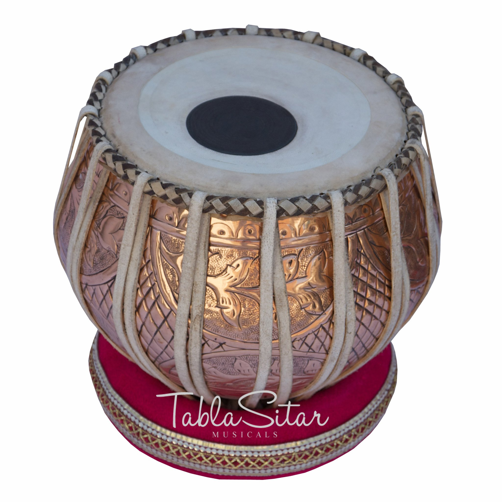 Tabla Drum Set by Maharaja Musicals, Professional, 3.5 Kg Copper Bayan - Designer Carving, Sheesham Tabla Dayan, Padded Bag, Book, Hammer, Cushions, Cover, Tabla Musical Instrument (PDI-CJH) by Maharaja Musicals (Image #3)
