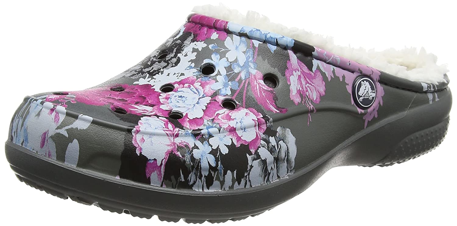 Crocs Women's Freesail Floral Lined Clog | Indoor Outdoor Warm and Fuzzy Shoe or Slipper 203762-96B-W6-A