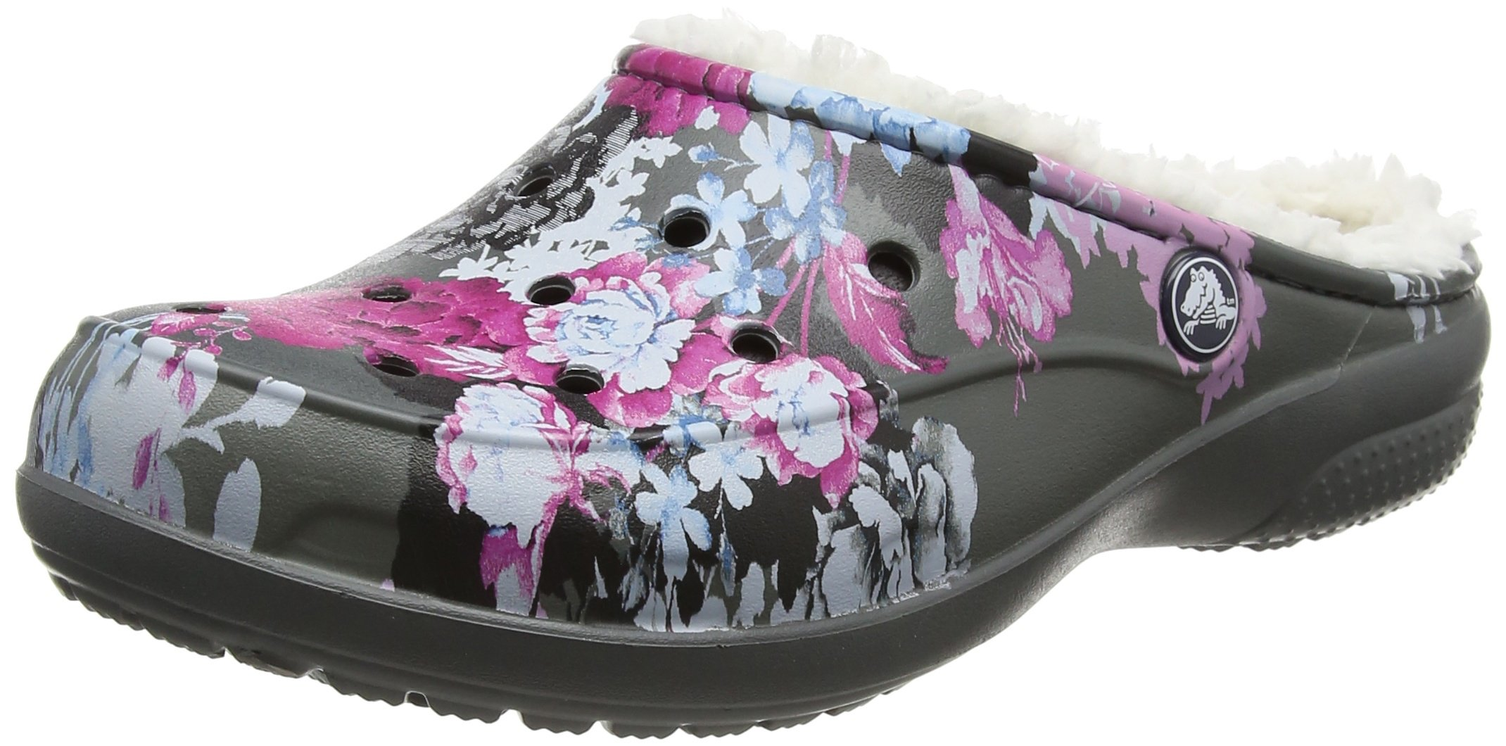 crocs Women's Freesail Graphic Lined Mule, Floral/Slate Grey, 7 M US