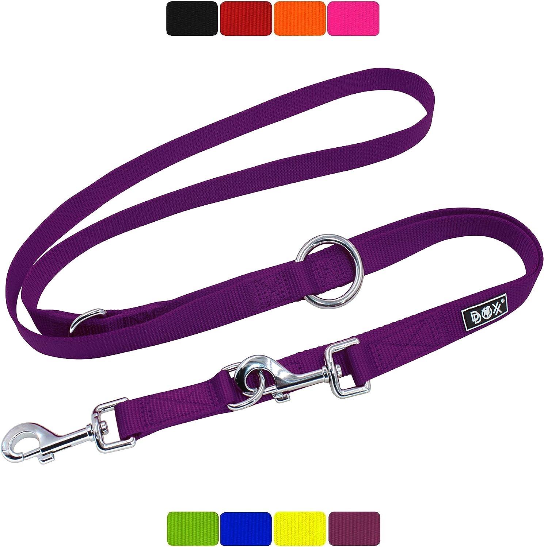 DDOXX Correa Perro Multiposición Nylon, Ajustable en 3 tamaños, 2 m | Diferentes Colores & Tamaños | para Perros Pequeño, Mediano y Grande | Correa Accesorios Doble 2 Gato Cachorro | L, Violeta, 2