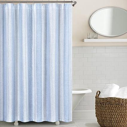 Echelon Home Lst SC Blu Vintage Stripe Washed Belgian Linen Shower Curtain Blue