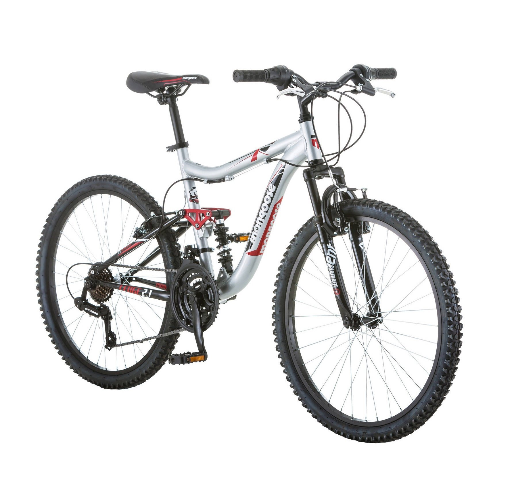 24'' Mongoose Ledge 2.1 Boys' Mountain Bike, Silver/Red by Mongoose
