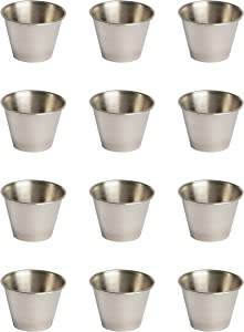 ehomeA2Z Ramekin Stainless Steel Condiment Sauce Cups Au Jus Commercial Grade 12 Pack (12, 2.5 oz)