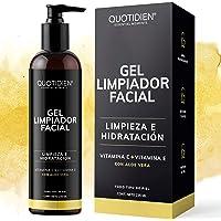 Gel Limpiador Facial con Vitamina C + Vitamina E + Aloe Vera - 80% Ingredientes Naturales- Limpiador Profundo Facial…