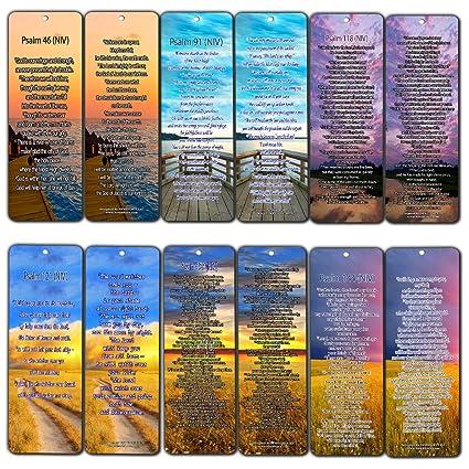 Psalm Bookmarks - NIV Version (12-Pack) - Christian NIV Version Bible  Scripture Prayer Cards - Psalm 46, Psalm 91, Psalm 118, Psalm 121, Psalm  139,