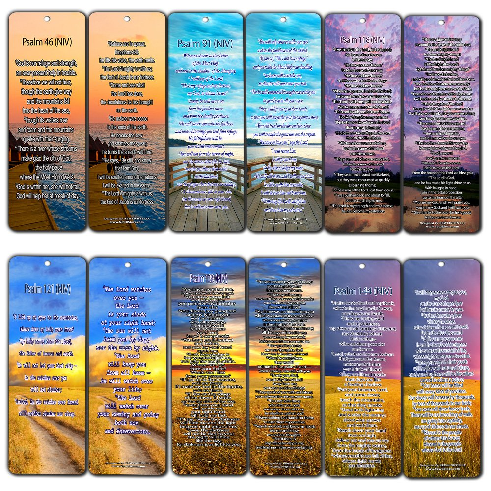 Christian NIV Version Bible Scripture Prayer Cards - Psalm 46, Psalm 91, Psalm 118, Psalm 121, Psalm 139, Psalm 144 - Bible Study Religious Gifts