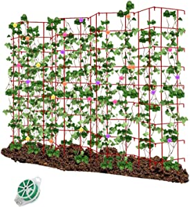 CEED4U 3 Packs 64 Inches Height Red Expandable Pea Trellis with 328 Feet Garden Twist Ties, Steel Plant Supports for Climbing Peas and Other Vining Crops