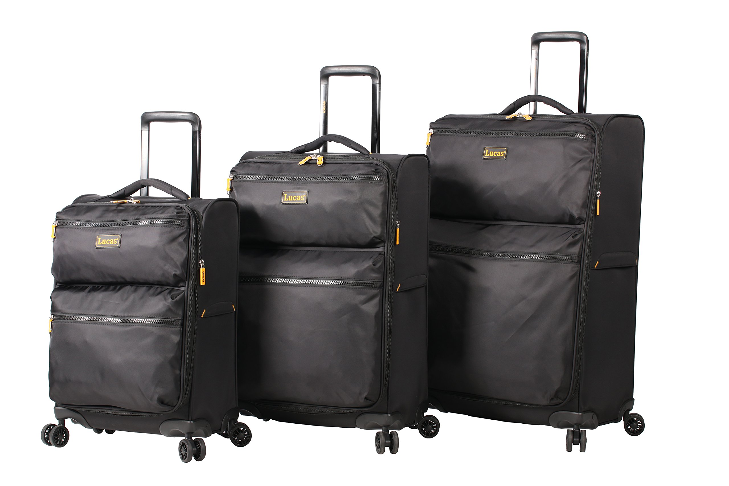 Lucas Ultra Lightweight 3 Piece Expandable Suitcase Set With Spinner Wheels (One Size, Black) by Lucas